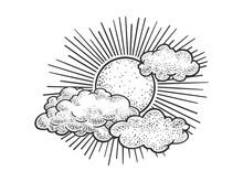 Sun And Clouds In Sky Sketch E...