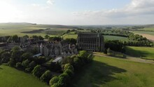 Stunning 4K Aerial Footage Of Lancing College And It's Beautiful Gothic Chapel - All Overlooking The River Adur In Sussex, England.