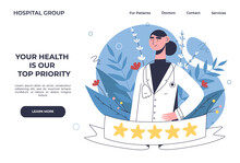 Patients Evaluate Doctors Review And Rating Via Mobile App. Choosing A Top-rated Doctor For Treatment. Online Healthcare Hospital Or Clinic, Visit Planner, First Aid Website Concept.