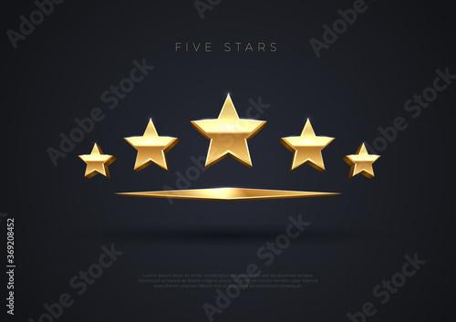 Obraz Five golden stars. Top quality concept illustration. Rating stars icon. 3d award stars. Vector. - fototapety do salonu