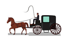Four Wheeled Carriage Or Coach With Horse Drawing In Vector