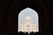Agra, Uttar Pradesh, India, January 2020, Front View Of Taj Mahal, From Great Gate