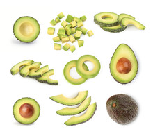 Avocado Set On A White Background. Sliced Avocado. Avocado Cubes