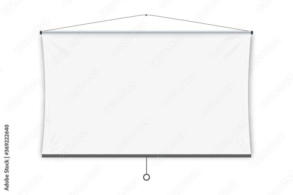 Fototapeta Projection screen. Isolated blank white hanging projection screen display. Vector education, visual presentation, business conference concept