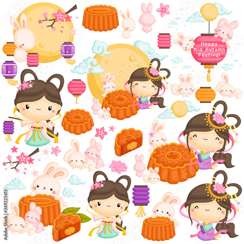 Obraz A Vector Set of The Chinese Goddess and Mooncake with some Rabbits under the Moonlight - fototapety do salonu