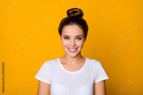 Obraz na plátne Portrait of girlish cute girl look toothy smile wear stylish youth clothes isola