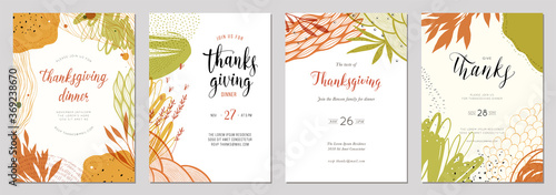 Fototapeta Trendy abstract Thanksgiving templates. Good for poster, card, invitation, flyer, cover and banner. obraz