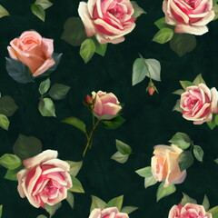 Panel Szklany Podświetlane Vintage Vintage Floral Seamless Background with Pink Roses on dark green background. Pastel painting style