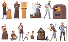 Medieval People Vector Illustration Set. Cartoon Flat Historical Middle Ages Characters Collection With Peasant Family, Blacksmith And Priest, Laundress, Beggar In Historic Costumes Isolated On White