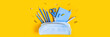 Leinwanddruck Bild - Web banner with School writing materials: pencils, scissors, notepad, pen case on yellow background.