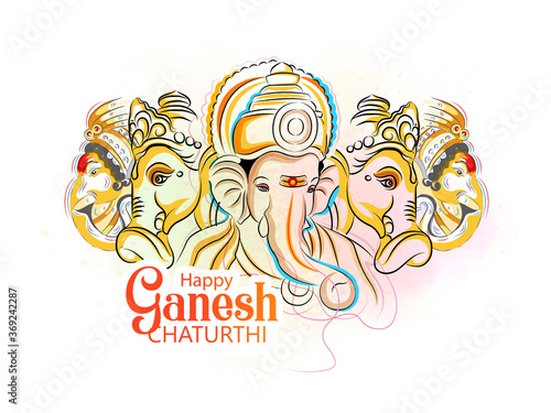 illustration of Lord Ganpati on Ganesh Chaturthi background Wallpaper Mural