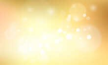 Gold Glittering Background With Bokeh Effect. Golden Twinkled Light Backdrop For Wedding Or Christmas Xmas Card