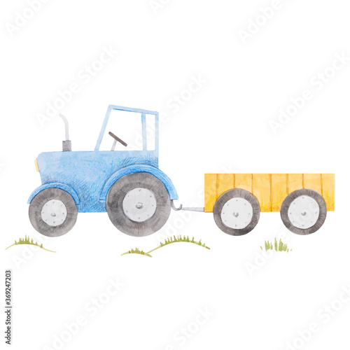 Obraz Beautiful stock illustration with cute watercolor blue farm tractor. - fototapety do salonu