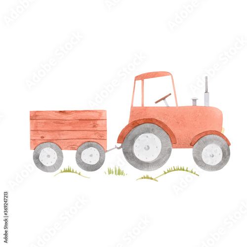 Obraz Beautiful stock illustration with cute watercolor farm tractor. - fototapety do salonu