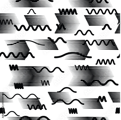 Seamless pattern with speed lines, halftone dots , circles . minimalistic poster with striped Design elements .Repeating Vector stripes .Geometric shape. Dynamic geometrical Endless overlay texture. Wall mural