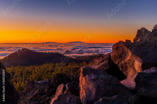 Fototapety, obrazy: Amazing Tenerife sunset overlooking La Gomera and La Palma islands