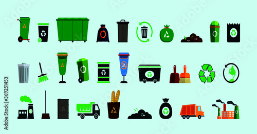 Fototapety, obrazy: set of garbage or landfill icon with various models isolated on blue