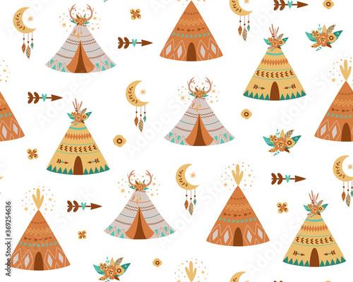 Kids teepee pattern Wallpaper Mural
