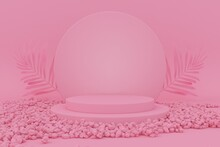 Abstract Minimalist Pink Color Geometric Stone And Rock Shape Background, Mockup For Podium Display Or Showcase, 3d Rendering.