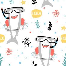 Hand Drawing Shark Seamless Print Design. Vector Illustration Design For Fashion Fabrics, Textile Graphics, Prints.