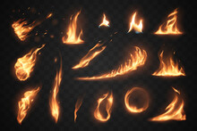 Set Of Fire Flames Elements On Transparent Background