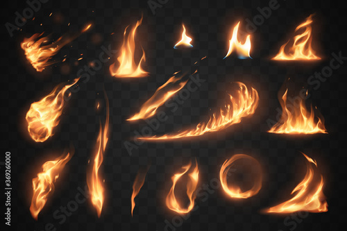 Set of fire flames elements on transparent background Wallpaper Mural