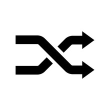 Shuffling Icon, Change Order, Random Sign - Vector Music Symbol. Intersecting Arrows Icon. Exchange And Turn, Cross Symbol