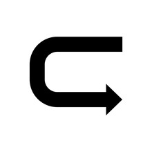 180 (one Hundred Eighty Degree) Turn Arrow Icon.