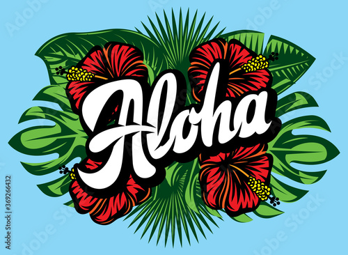 Obraz Vector illustration with Aloha lettering, palm leaves and hibiscus - fototapety do salonu