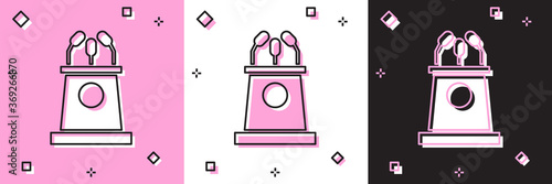 Set Stage stand or debate podium rostrum icon isolated on pink and white, black background Wallpaper Mural