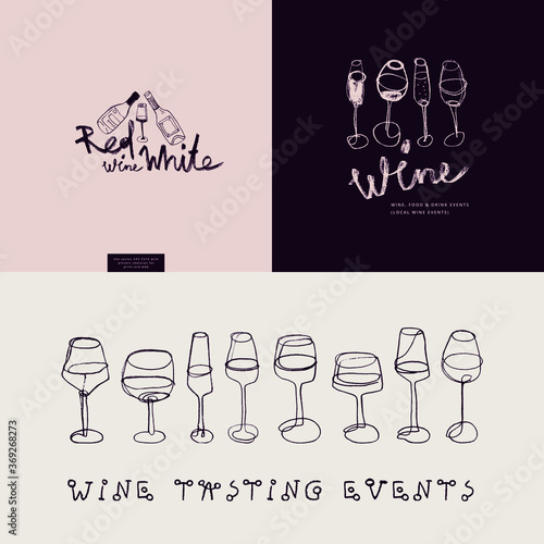 Fotografie, Obraz Vector wine emblems for restaurant logo design, bar sign, local wine events with wine glass icons in trendy line style