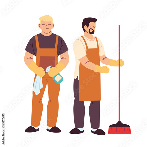Obraz cleaning service men with gloves and cleaning utensils - fototapety do salonu