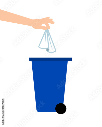 Obraz Hand throwing away tissue into a trash bin. Coronavirus prevention. Biohazard waste. Single use paper towels or napkins. COVID-19 safety measures. Personal hygiene. Vector illustration, flat, clip art - fototapety do salonu