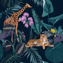 Tropical Night Vintage Wild Animals Tiger And Giraffe Pattern, Palm Tree, Palm Leaves And Plant Floral Seamless Border Black Background. Exotic Jungle Wallpaper.