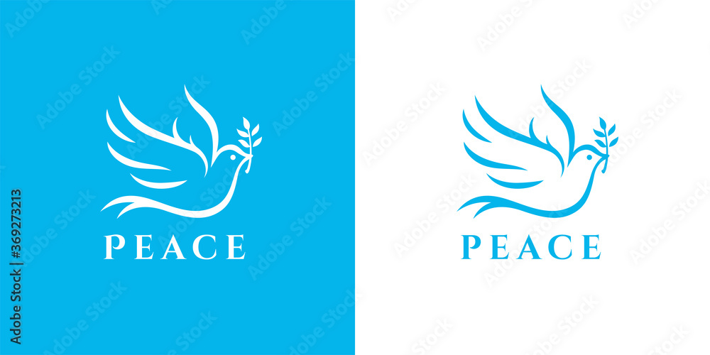 Fototapeta Flying peace dove with olive branch logo symbol. Spiritual purity sign. Peaceful christian charity icon. Vector illustration.