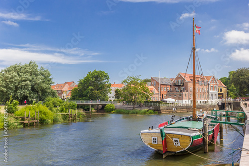 Carta da parati Historic wooden ship in the harbor of Ribe, Denmark
