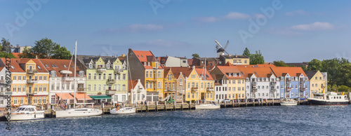 Fotografie, Obraz Panorama of colorful old houses at the water in Sonderborg, Denmark