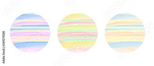 Fotografía Set of three circular watercolour orbs