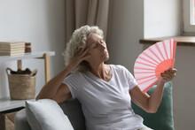 Overheated Senior Woman Relax ...