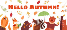 Hello Autumn Lettering Text Concept Vector Illustration. Cartoon Flat Cute Autumnal Season Background With Funny Owl Fox Hedgehog Cock Bear Beaver Characters And Falling Seasonal Leaves Or Mushrooms