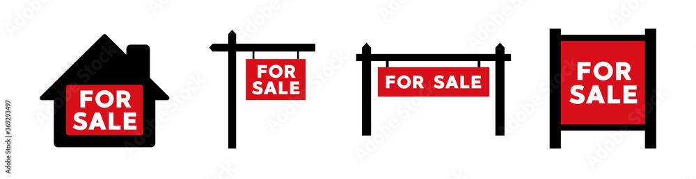 Fototapeta For Sale real estate sign icon. Vector illustration