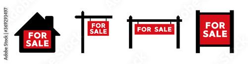 Fototapeta For Sale real estate sign icon. Vector illustration obraz