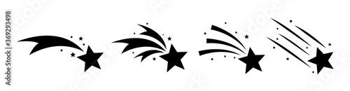Valokuva Falling stars set icon meteorites or comets.