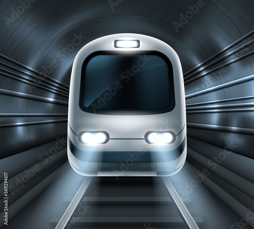 Obraz Subway train in metro tunnel front view, locomotive on rails with glowing headlights illumination. Modern underground commuter transport, railway passenger vehicle Realistic 3d vector illustration - fototapety do salonu