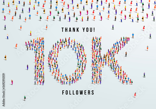 Fotomural Thank you, 10k or ten thousand followers celebration design