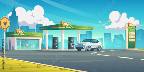 Obraz Electric car recharge station, ev refueling service in city of future, hybrid vehicle at battery charger on cityscape background, eco energy fuel selling for urban auto, Cartoon vector illustration - fototapety do salonu