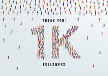 Thank You, 1k Or One Thousand Followers Celebration Design. Large Group Of People Form To Create A Shape 1k. Vector Illustration.