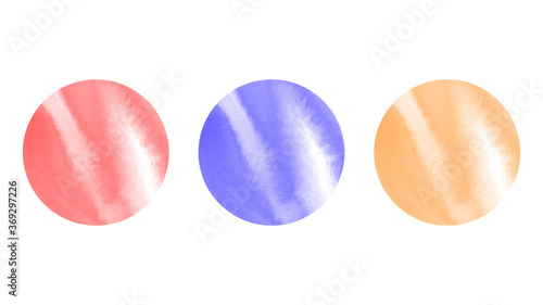 Foto Set of three circular watercolour orbs