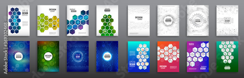 Fototapeta Abstract technology cover with hexagon elements. Set of High tech brochure design concept. Futuristic business layout. Digital poster templates. obraz