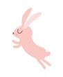 Cute pink rabbit cartoon jumping design, Animal zoo life nature and character theme Vector illustration